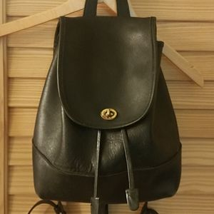 Vintage Coach Leather Black Backpack